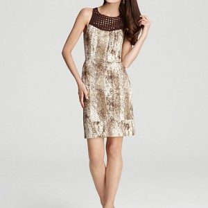 Rachel Roy Snake Printed Cotton Crochet Dress Size 4