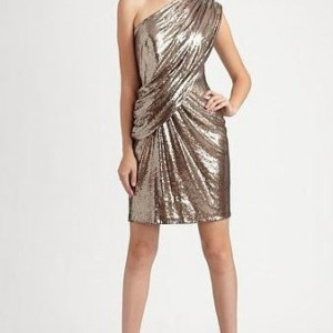 Tadashi One Shoulder Sequin Pewter Dress Sz 6