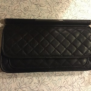 BCBG Maxazria Quilted Black Leather Clutch